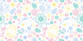 Happy Easter doodle seamless pattern with egg, flower, rabbit Royalty Free Stock Photography