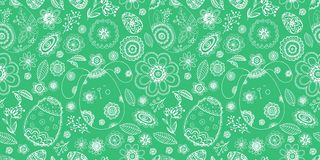 Happy Easter doodle seamless pattern with egg, flower, rabbit Royalty Free Stock Image