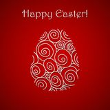 Happy Easter doodle simple red greeting card Royalty Free Stock Image