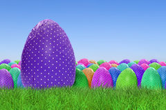 Happy Easter and dotted Easter Eggs. On clear sky background Stock Photos
