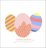 Happy Easter. A drawing with Easter eggs, which can be used as a design element or an independent postcard Stock Image