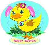 Happy Easter Duck with Bunny Ears Stock Image