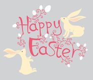 Happy Easter. Easter bunnies. Stock Photos