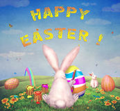 Happy Easter! Easter bunnies and eggs in field. Illustration art Stock Images