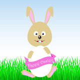 Happy Easter! Easter bunny. Happy Easter! Easter bunny and egg in field Royalty Free Stock Photography