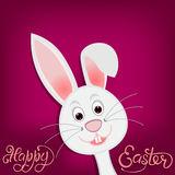 Happy easter. Easter bunny on purple background. illustration Stock Images