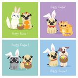 Happy Easter! Easter Card With Dogs And Cats Stock Images