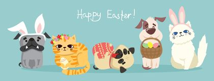 Happy Easter! Easter Card With Dogs And Cats Stock Image