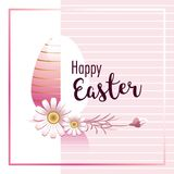 Happy Easter. Easter egg and chamomile flowers with hand lettering script over pink background. royalty free illustration