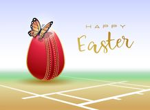 Happy Easter sports greeting card. Cricket vector illustration