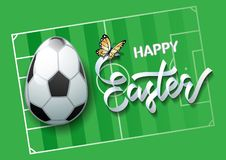 Easter sports greeting card. Soccer