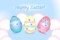 Happy Easter. Easter eggs on a blue background Stock Photo