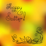 Happy easter with easter eggs in corner Stock Photo
