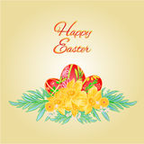 Happy Easter Easter eggs and daffodils vector Stock Photo