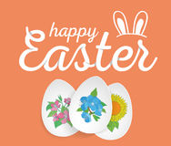Happy Easter. Easter Eggs and Ears Vector. Royalty Free Stock Image