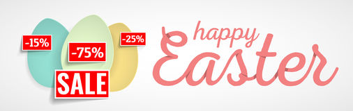 Happy Easter. Easter Eggs and Ears Vector. Royalty Free Stock Photos