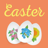 Happy Easter. Easter Eggs and Ears Vector. Royalty Free Stock Photo