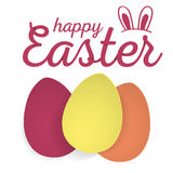 Happy Easter. Easter Eggs and Ears Vector. Royalty Free Stock Photography