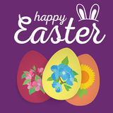 Happy Easter. Easter Eggs and Ears Vector. Stock Photography
