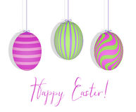 Happy Easter With Easter Eggs Hanging in a Row stock illustration
