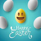 Happy Easter, easter eggs with smiling emoji face Stock Photo