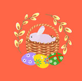 Happy easter. Easter eggs, willow branch and easter bunny Stock Image