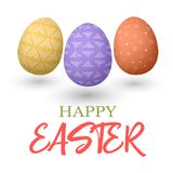 Happy Easter. Easter jumping red and yellow and purple doodle decorated eggs  illustration. Stock Photo