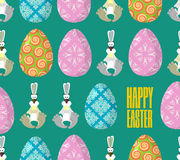 Happy Easter. Easter seamless pattern. Traditional eggs. Rabbit Stock Image