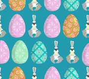 Happy Easter. Easter seamless pattern. Traditional eggs. Rabbit Royalty Free Stock Photo