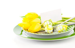 Happy Easter, easter table place setting,. With sample greeting or copy space for your text here Stock Images