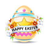 Happy Easter Egg. A glossy easter egg with a banner and the words Happy Easter
