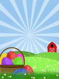 Happy Easter Egg Basket on Green Pasture Stock Photography