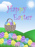 Happy Easter egg basket hunt background garden illustration with clouds grass hills and blue sky Royalty Free Stock Image