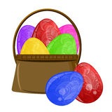 Happy Easter Egg Basket with Scroll Design Royalty Free Stock Image