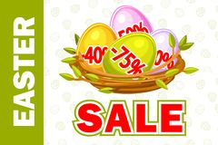 Vector Happy Easter, Egg in birds nest of twigs. Spring and Easter sale offer, banner template. On Separate Layers. Happy Easter, Egg in birds nest of twigs vector illustration