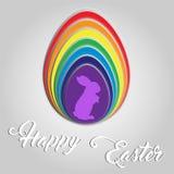 Happy Easter Egg Bunny Rainbow Card Stock Photo