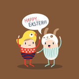 Happy Easter Egg Cartoon. Cute Happy Easter Egg Cartoon Vector Royalty Free Stock Photo