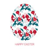 Happy Easter Egg decorated with different floral elements pattern. Vector illustration red flowers alstromeria. Happy Easter Egg decorated with different floral Stock Images