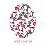 Happy Easter Egg decorated with different floral elements pattern. Vector illustration red flowers alstromeria. Happy Easter Egg decorated with different floral Royalty Free Stock Image