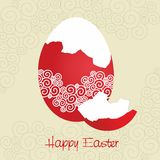 Red broken egg decorated - Easter card - vector Royalty Free Stock Photos