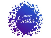 Happy Easter. Easter egg with dots. Blue gradient. Vector. Illustration vector illustration