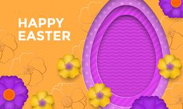 Happy Easter egg on flower pattern background. Vector floral papercut design for Easter greeting card Stock Image