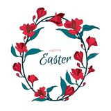Happy easter egg flowers alstromeria frame. Greeting vector card with symbol. Happy easter egg flowers alstromeria frame. Greeting vector card. Illustration Stock Image