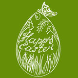 Happy easter. Easter egg with flowers and butterflies grass with the words Happy Easter Royalty Free Stock Photos
