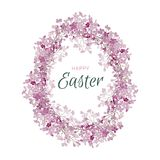 Happy easter egg flowers lilac frame. Greeting vector card. Illustration Stock Photography