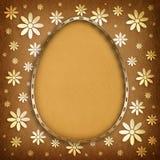 Happy Easter - egg in golden frame on patterned background Stock Image