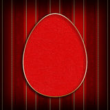 Happy Easter - egg in golden frame on red background Royalty Free Stock Photo