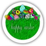 Happy easter egg on grass illustration Stock Image