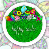 Happy easter egg on grass illustration Royalty Free Stock Image