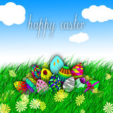 Happy easter egg on grass illustration Royalty Free Stock Photos